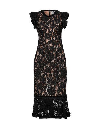 Alexis Lace Midi Ruffle Sheath Dress In Black Lace