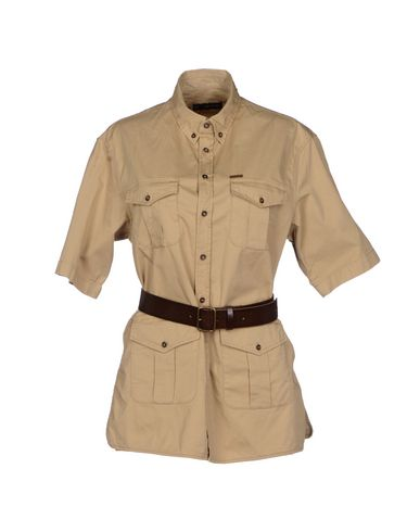 Solid Color Shirts & Blouses in Khaki