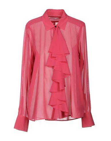 LAREIDA Solid Color Shirts & Blouses in Fuchsia