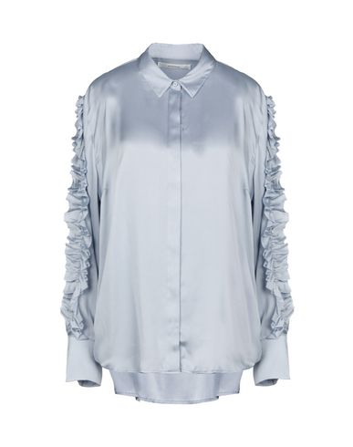 GESTUZ Solid Color Shirts & Blouses in Sky Blue