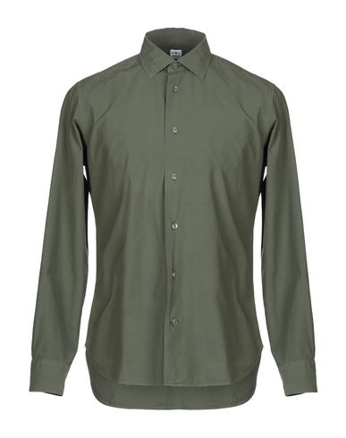 DANOLIS Solid Color Shirt in Military Green