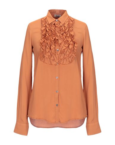 HER SHIRT Solid Color Shirts & Blouses in Brown
